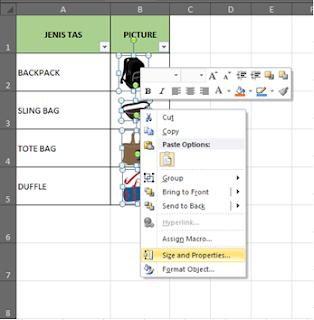 Mengunci Gambar di Excel
