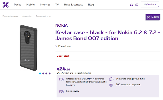 Nokia Kevlar Case - James Bond 007 Edition listed on Proximus