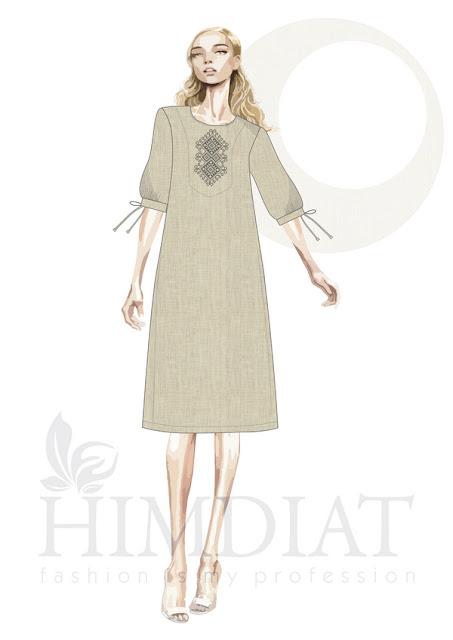 Платье женское. Модель PL-391. Авторская коллекция женской одежды Nadia Himdiat. Платье в этническом стиле из льна с вышивкой.  Сезон: осень-зима