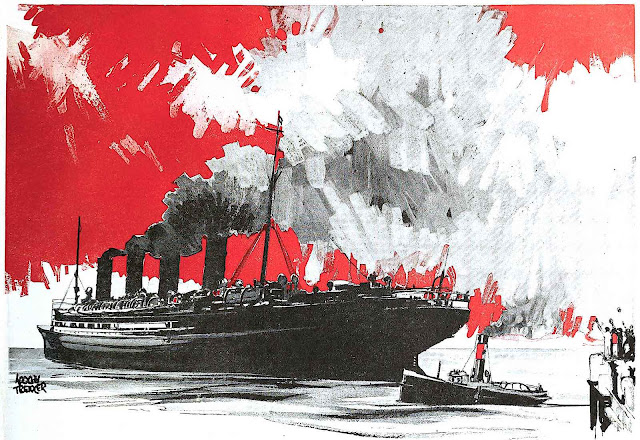 an Adolph Treidler illustration of a cruise ship in port with a red sky