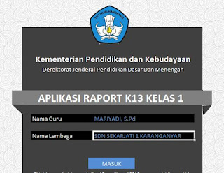 Aplikasi Penilaian Raport Kurikulum 2013 Kelas 2 SD/MI Semester 1