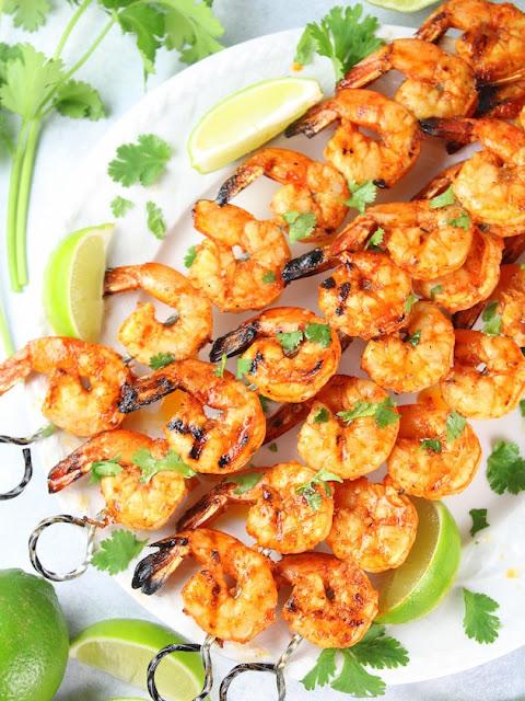garlic lemon grilled shrimp skewers