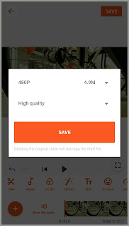 Save button to export video from YouCut.