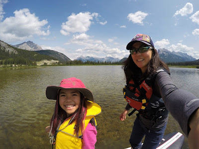Stand-up paddle boarding at Vermilion Lakes, Banff