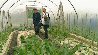 Monty Don and Adam in polytunnel