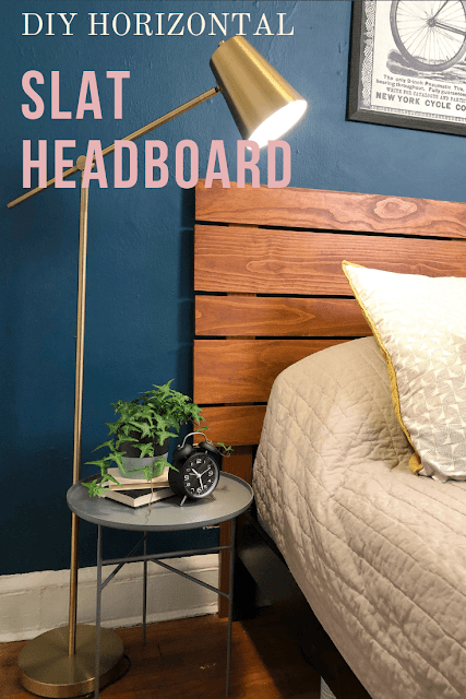 DIY wood slat headboard