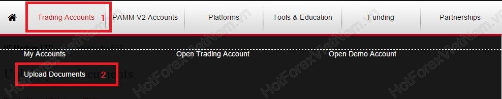 Upload tài liệu xác minh tài khoản HotForex