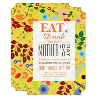 Mother's Day Invitations - Modern Boho Chic Floral Mother's Day Meal Card