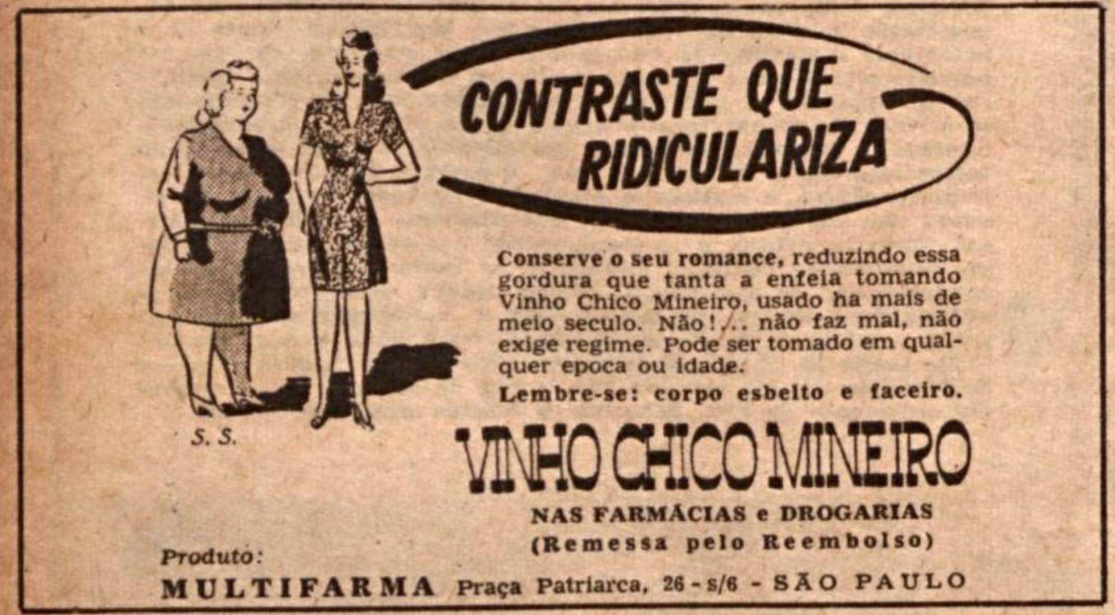 Anúncio de 1945 promovia fórmula para emagrecimento criticando pessoas gordas