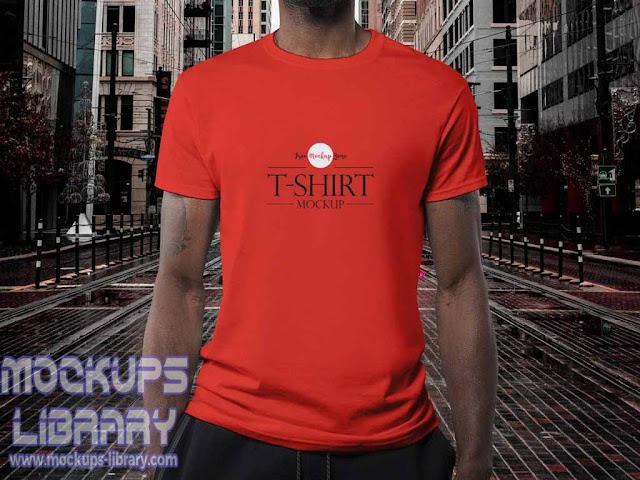 wearing t shirt mockup free