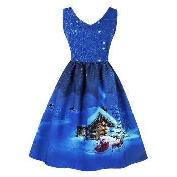 Snowflake Cottage Print Christmas Dress