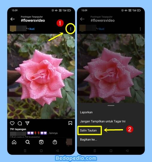 Cara copy link download video instagram