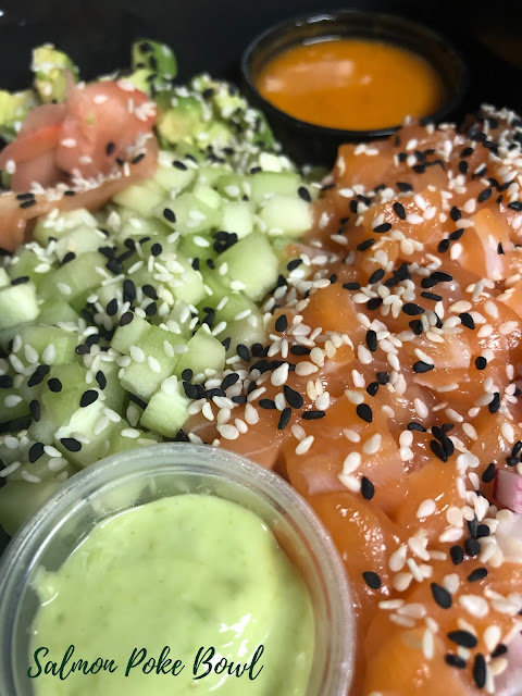 The Salmon Poke Bowl provides a healthy and colorful meal!