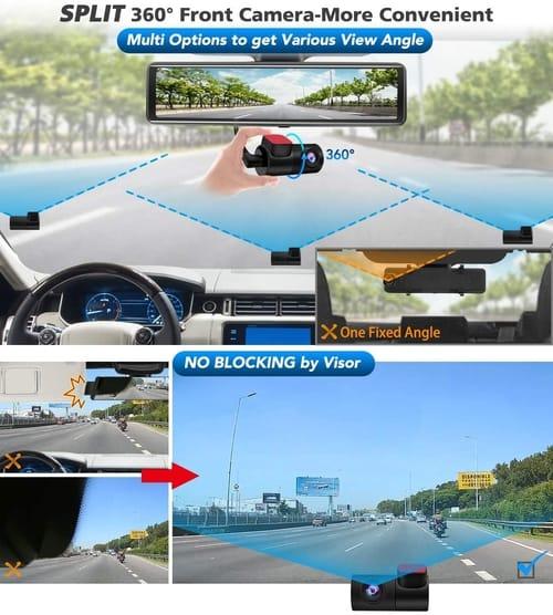 PORMIDO PR998U Car 12 inch Mirror Dash Cam