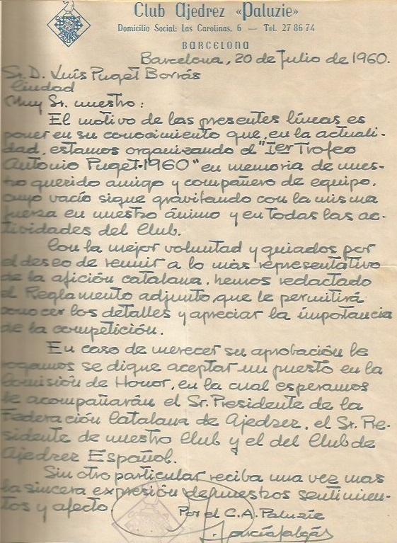 Carta sobre el I Trofeo Antonio Puget, 1960