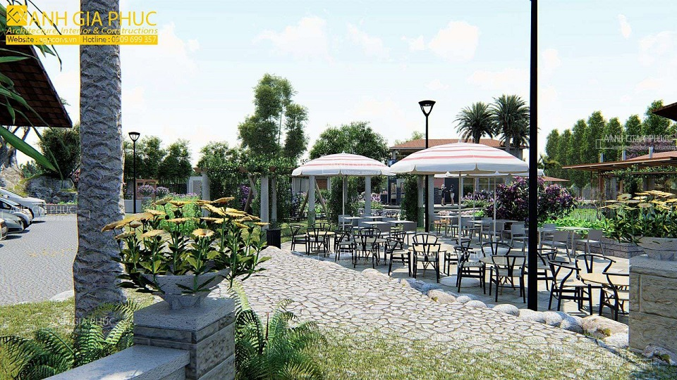 cafe sân vườn có mái che