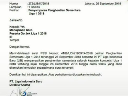 Surat penghentian Liga 1 Indonesia