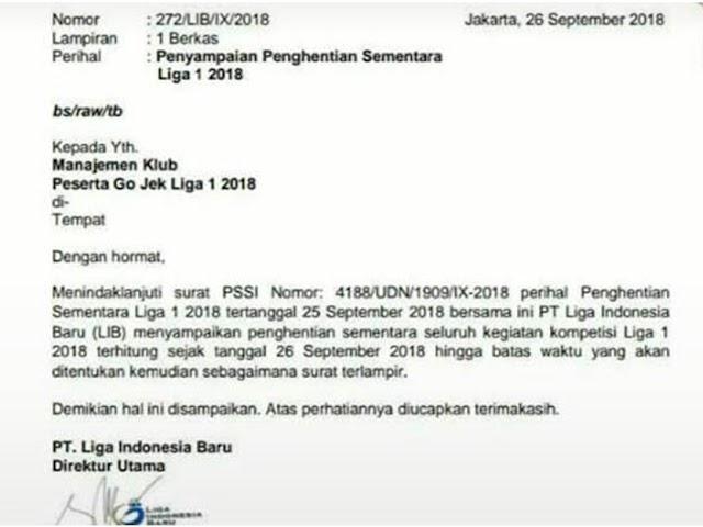 Kompetisi Go-Jek Liga 1 Indonesia 2018 Dihentikan Sementara