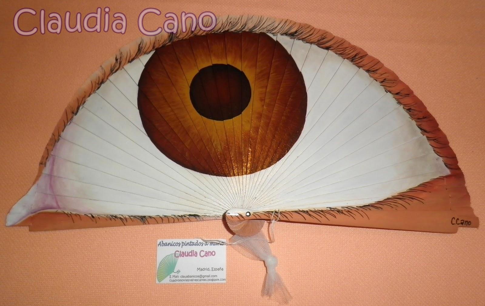 Abanicos pintados a mano por claudia cano abanico ojo 2 - Abanicos para pintar ...