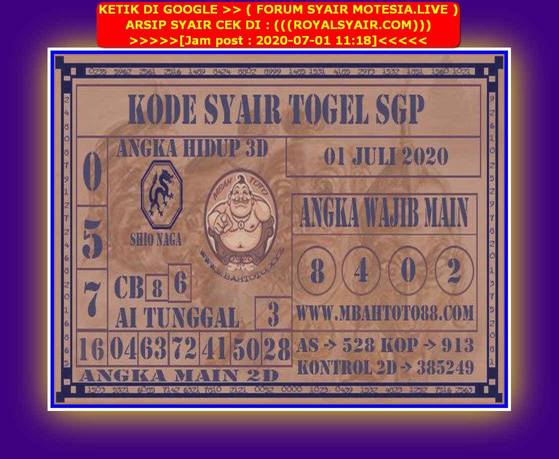 Kode syair Singapore Rabu 1 Juli 2020 87