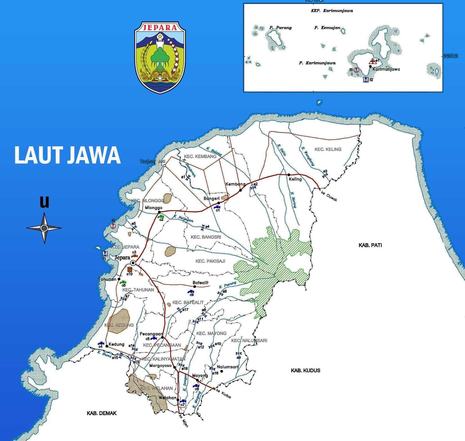 Peta Kabupaten Jepara Lengkap Sejarah Indonesia Peta