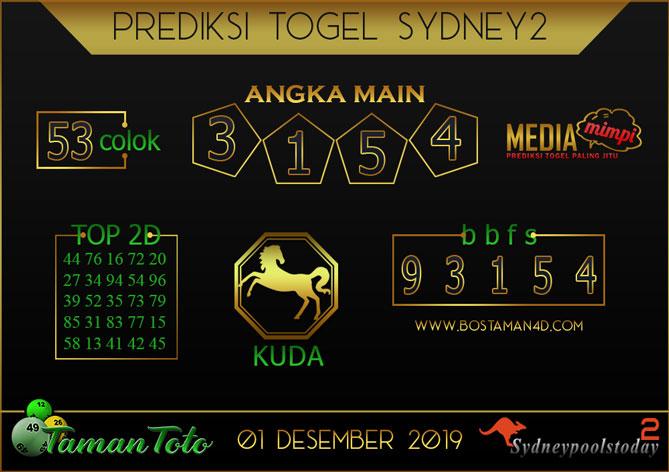 Prediksi Togel SYDNEY 2 TAMAN TOTO 01 DESEMBER 2019