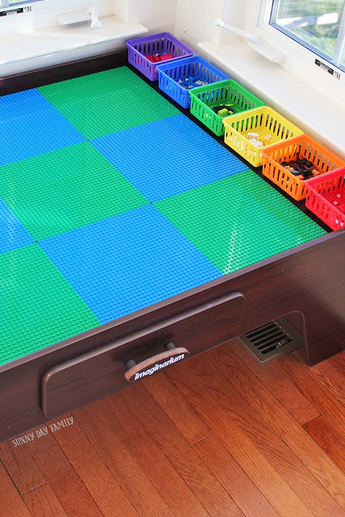 Create an awesome LEGO table from a neglected train table with this easy DIY project. & Turn Your Train Table Into a Lego Table with Color Coded Storage ...