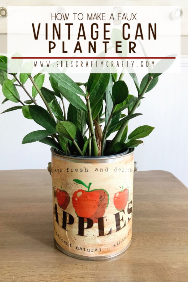How to make a faux vintage can planter from a new paint can