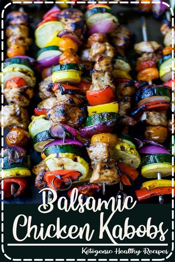 Summer Grilling is on & these GRILLED BALSAMIC CHICKEN KABOBS should be first on your hit list! A healthy paleo grilling recipe only 251 calories a serving! #chicken #kabobs #grilling