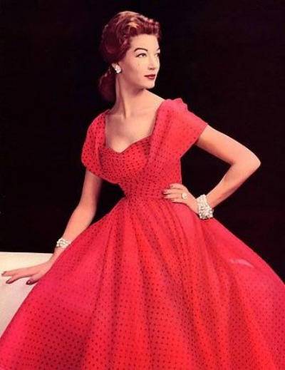 Red Formal Dotted Swiss Dress 1957