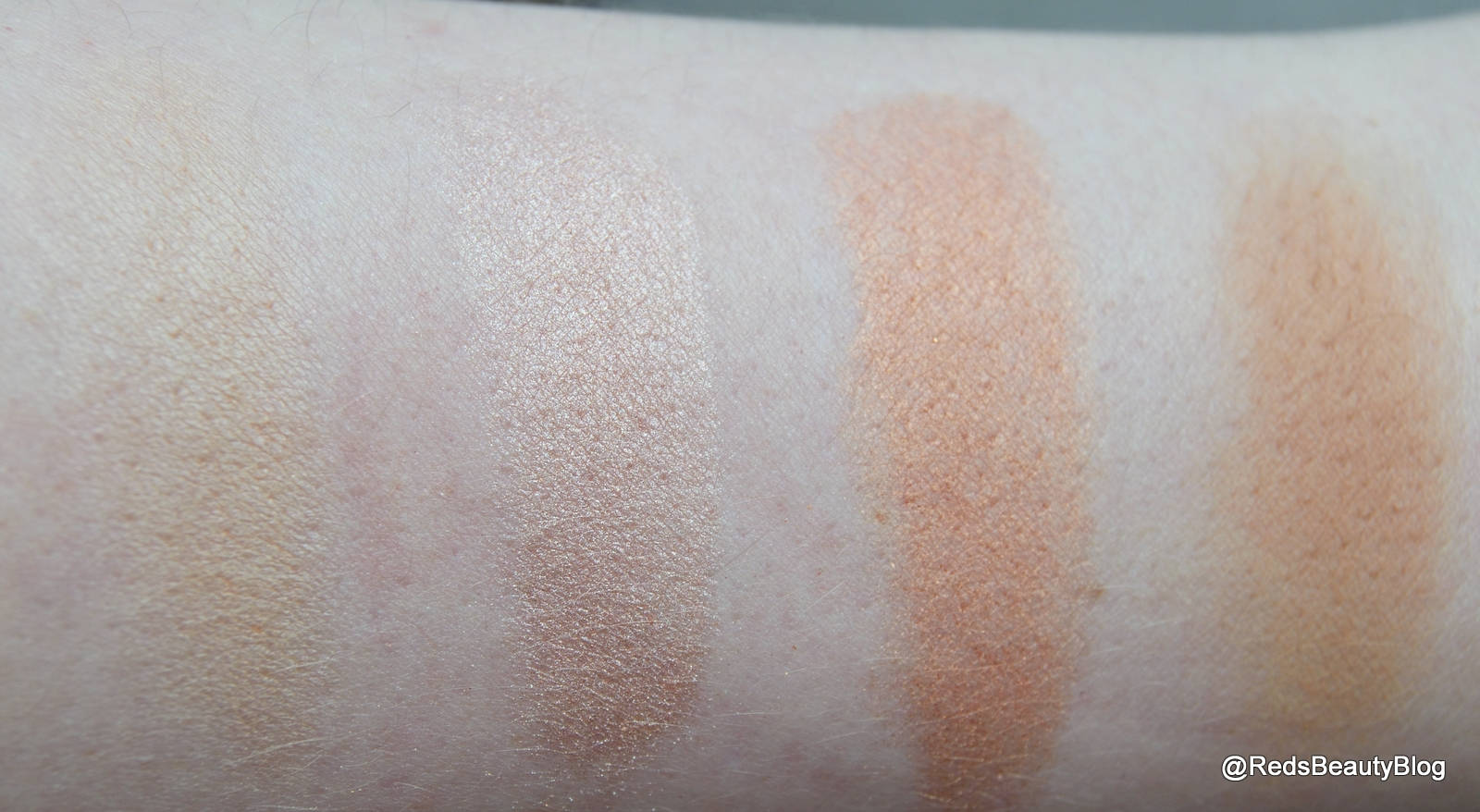 a picture of Makeup Revolution London Ultra Blush Palette in Golden Sugar Swatches