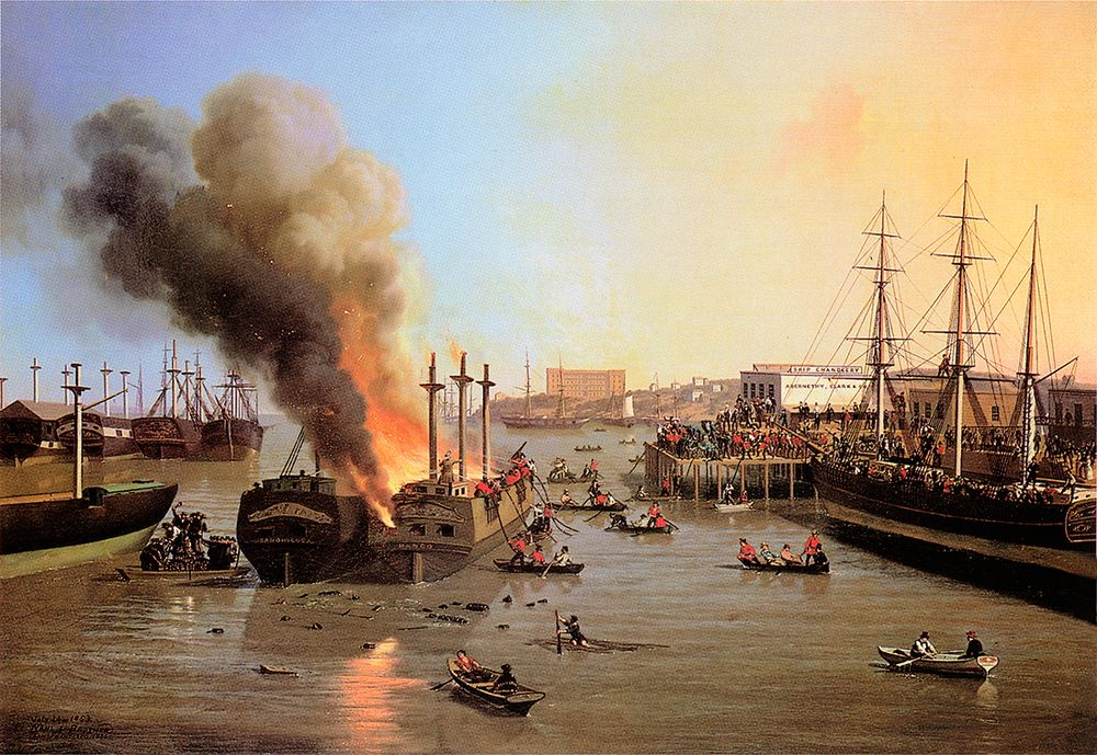 Fire in San Francisco Bay, 1856