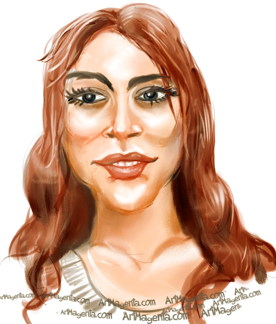 Lindsay Lohan caricature cartoon. Portrait drawing by caricaturist Artmagenta