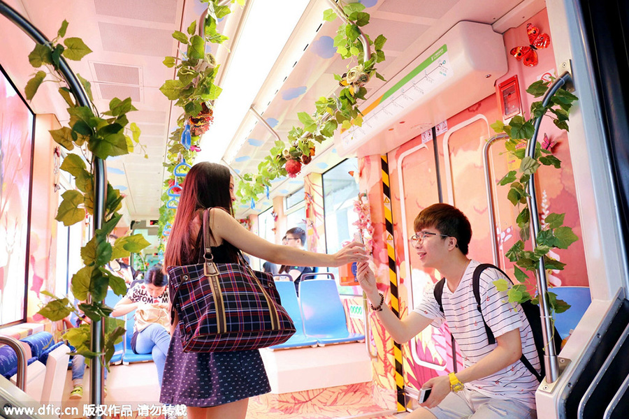 colorful artsy trains in China