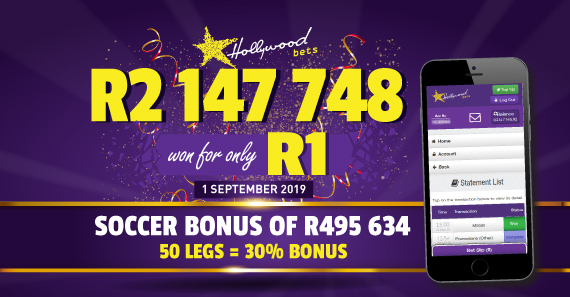 R2 147 748 Soccer Win Hollywoodbets