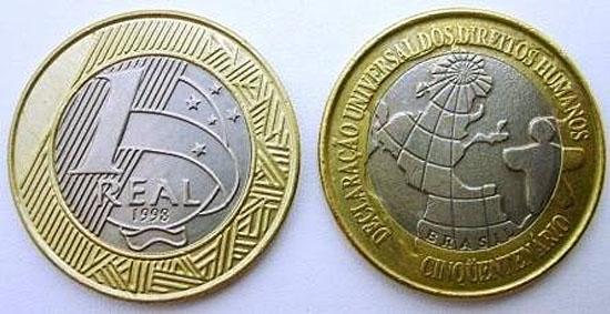 Moedas mais raras e caras do Real - 1 Lugar - Moeda de 1R$ da Declaração Universal dos Direitos Humanos de 1998