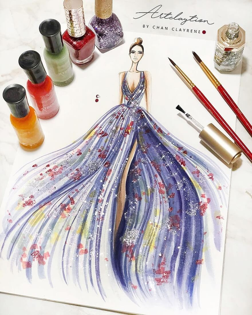 13-Nail-polish-painting-Clayrene-Chan-Drawings-of-Lavish-Flowing-Dress-Designs-www-designstack-co