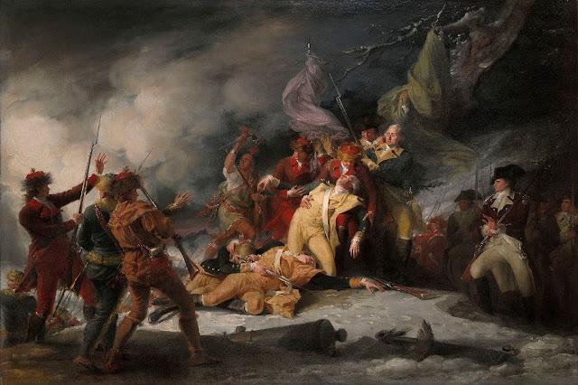 John Trumbull, La muerte del general Montgomery en el ataque a Quebec, 31 de diciembre de 1775.