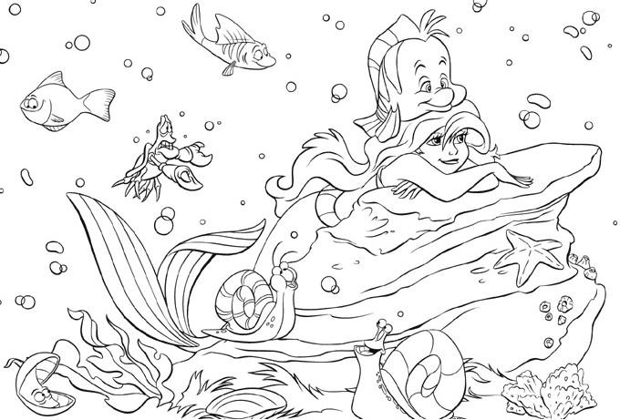 """Dibujos Disney Para Colorear La Sirenita Dibujos Animados: Princesas Disney: Más Dibujos Para Colorear De """"La Sirenita"""""""
