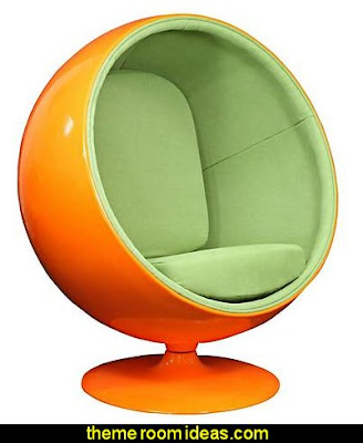Orange Ball Lounge Chair   Retro mod style decorating ideas