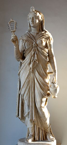 The Goddess holding a sistrum and an oinochoe, marble statue of the Roman Empire between 117 and 138BCE, Capitoline Museums, Rome, Italy