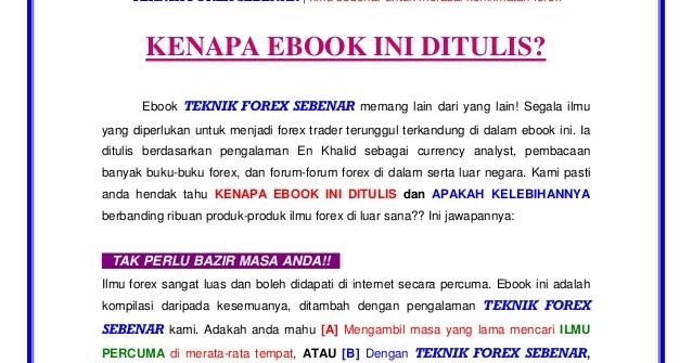 Free ebook teknik forex sebenar