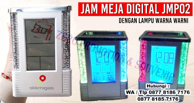 souvenir jam meja digital, jam meja menyala warna warni, jam meja cetak logo, jam meja cantik, jam meja kotak pen (JMP-02), Souvenir Jam Meja Digital JMP02 Cetak Logo Custom