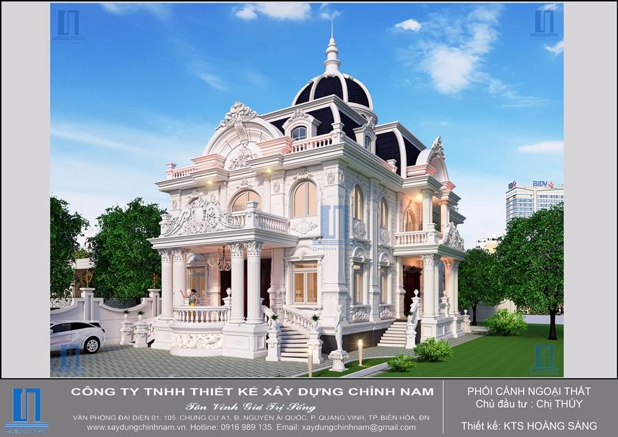 Thiết kế thi công xây dựng trọn gói biệt thự cổ điển ở Tây Ninh - Nhà chị Thúy