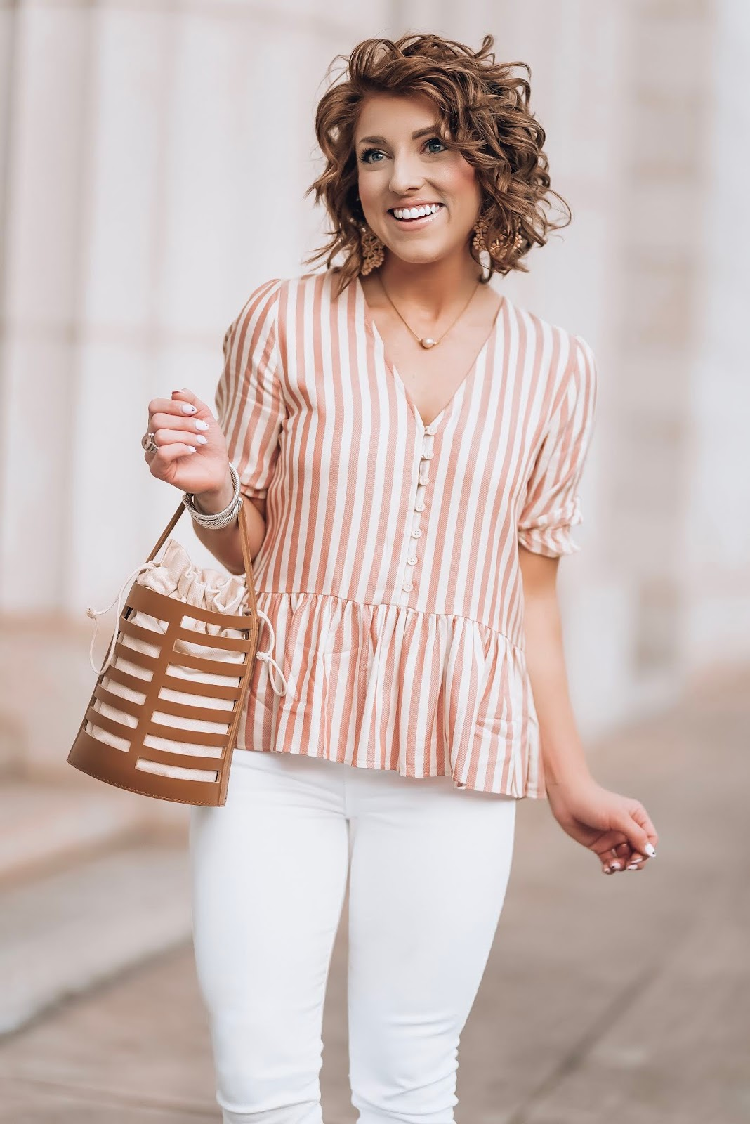 Stripes for Spring: Madewell Stripe Peplum Top + white jeans & leopard sandals - Something Delightful Blog #springstyle #springfashion #springlooks