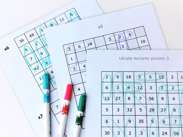na zdjęciu trzy karty pracy z tabelkami służącymi do gry i znajdywania ukrytych w nich działań, na planszach leża trzy mazaki w kolorach niebieskim, różowym i zielonym