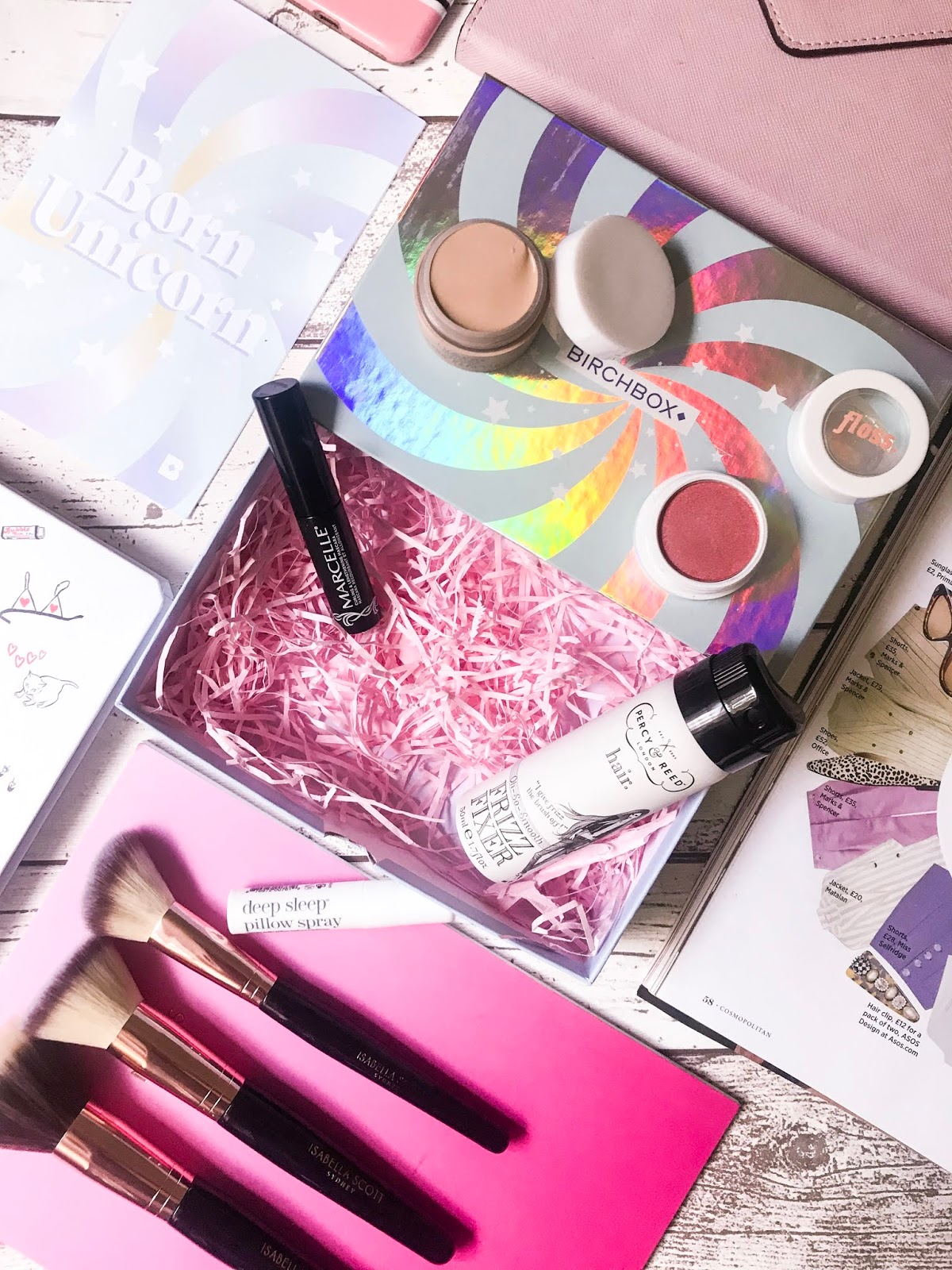 Birchbox flatlay with makeup and skincare products