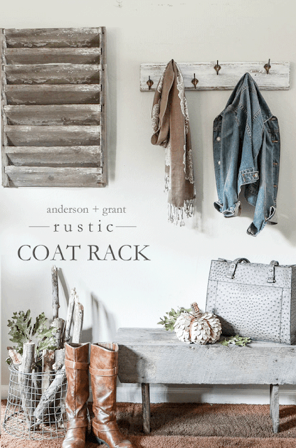 Learn how to update an old coat rack into a shabby chic one for your cottage farmhouse decor.  ||  www.andersonandgrant.com