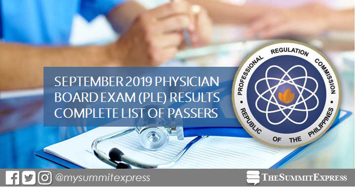 PLE RESULT: September 2019 Physician board exam list of passers, top 10