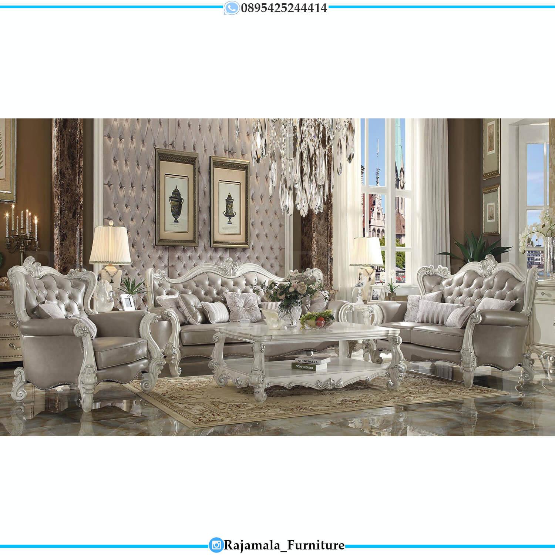 Sofa Tamu Mewah Putih Duco Classic Luxury Furniture Jepara Terbaru RM-0495